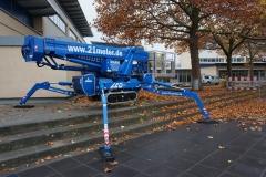 Bis 1,20m Höhenausgleich - Flexible Abstützung mit der Arbeitsbühne 21m